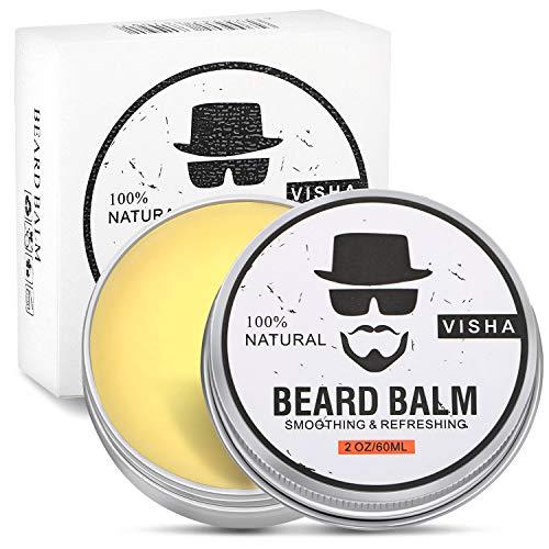 Beard Balm, Fixget 100% Natural Premium Beard Balm for smooth Beard - Soft Beard Wax with Shea Butter, Apricot, Jojoba and Argan Oil(60ml) -