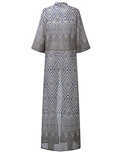 ZANZEA Femme Kimono Casaul Imprimé Bohême Manche Courte Cache Maillot Gilet Cardigan Long Bleu