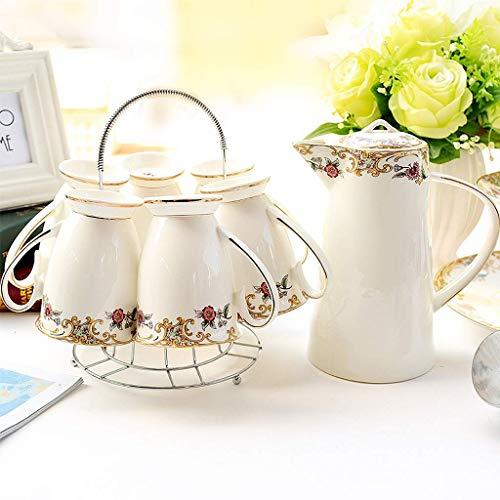 AOLI Bone China Cup und Teekanne Sets, Haushalt Kaltwasserflasche und Teetasse, Teebecher Set,8 Stück Bone China Cup 8