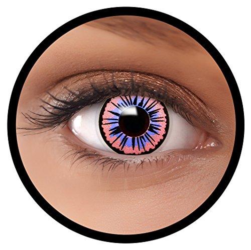 FXEYEZ® Farbige Kontaktlinsen blau Fee + Linsenbehälter, weich, ohne Stärke als 2er Pack - angenehm zu tragen und perfekt zu Halloween, Karneval, Fasching oder - Dunkle Fee Make Up Für Halloween
