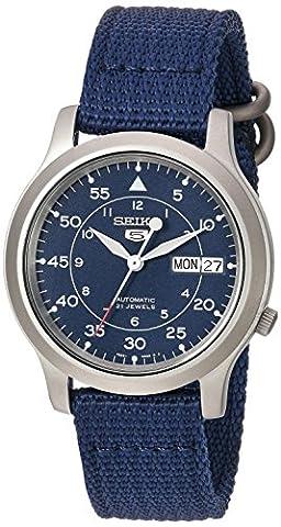 Seiko Herren-Armbanduhr 5 Gent Analog Automatik Textil SNK807K2 - Day Date Mens Orologio Da Polso