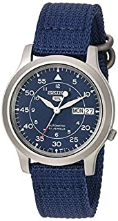 Seiko 5 Men's Automatic Watch with Blue Dial Analogue Display and Blue Fabric (B006CHML4I) | Amazon price tracker / tracking, Amazon price history charts, Amazon price watches, Amazon price drop alerts