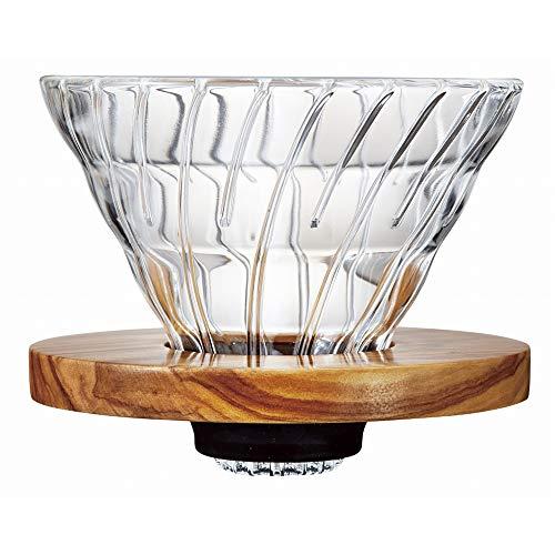 Hario VD 1-4Cup Olivenholz V60Tropfer Plus Messlöffel, Glas, transparent, 02Größe, Holz, 11 x 9,8 x 10,7 cm -