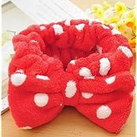 Arpoador Coral Velvet Face Elastic Headband Makeup Cosmetic Hairband Big Bow Beauty Lovely Dot Bow Hair Accessory Red