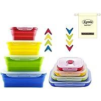 4 Pcs Récipients Alimentaires en Silicone Ensemble de Boîtes de Rangement Déjeuner Bento Box Sans BPA Passe au Micro…