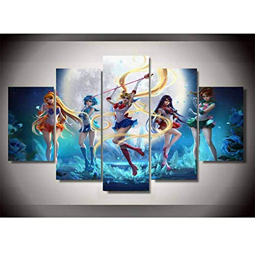 CuadrosEnLienzo Pretty Soldier Sailor Moon Imagen 5 Unidades Pintura Moderna Arte De La Pared Para La Decoración Del Hogar Decoración De Pared Giclee Obra De Arte,A,30*40*230*60*230*80*1