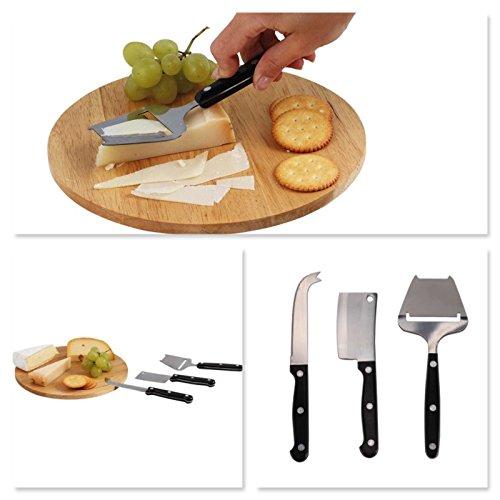 Hochwertiges Käse-Set Käse Brett 4 tlg. Käsebesteck 3 Käsemesser (Käsebrett, Rundes Servier-Brett, Käseplatte, Käseschneider)