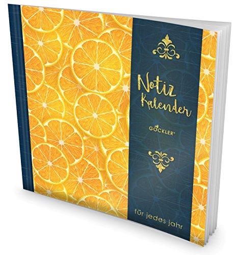 GOCKLER® Notiz-Kalender: Universaler Tagebuch-Kalender || 1 Zeile pro Tag + Notizseiten + Glänzendes Softcover || Ideal für Erinnerungen, To Do's & Termine || DesignArt.: Orangen