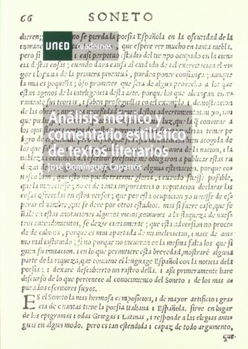 Análisis métrico y comentario estilístico de textos literarios (CUADERNOS UNED) por José DOMÍNGUEZ CAPARRÓS