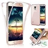 Galaxy S4 Hülle,Galaxy S4 Schutzhülle,ikasus Full-Body 360 Grad Klar Durchsichtige TPU Silikon Hülle Handyhülle Tasche Case Front Back Double Beidseitiger Cover Schutzhülle für Galaxy S4,Rose Gold