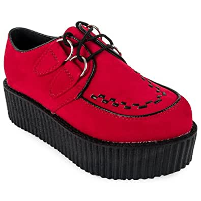 Womens Red Faux Suede Double Platform Ladies Goth Creepers Shoes Size 8