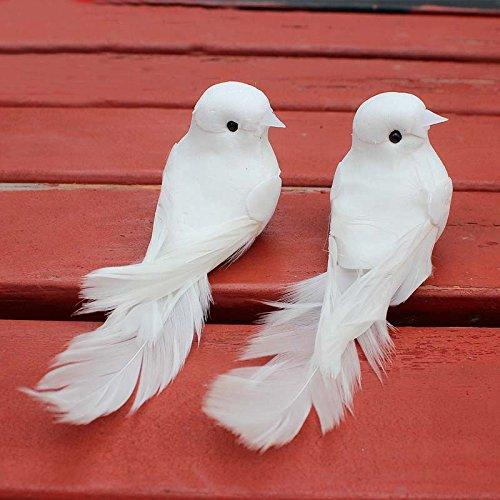Yalulu 2 Stück 12*5*5CM Weiß Hochzeit Taubenpaar Künstlich Schaum Vögel Zuhause Ornaments Deko - 2