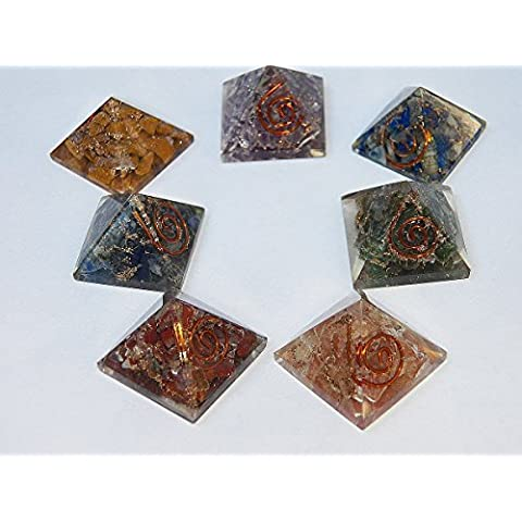 7 Piece Orgone Chakra Pyramid Set, Red Jasper, Carnelian, Green Aventurine, Lapis Lazuli, Blue Aventurine, Amethyst with Copper Coil and Pouch, Sacred Geometry, Reiki Set by Genuine Orgone Matrix &