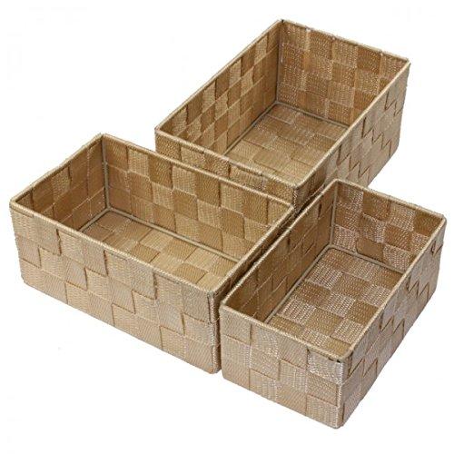 Unbekannt Aufbewahrungsbox 3er Set geflochten RECHTECKIG Badezimmer Box Korb 8 Farben, Farbe:Beige