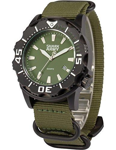 SHARK ARMY Herren Armbanduhr Wasserdicht Analog Japanisches Quarz Nylon Armband Datum Anzeige SAW192