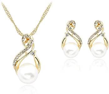 Ogquaton Perle blanche cristal strass pendentif collier boucles doreilles goujons ensemble de bijoux beau cadeau pour les filles