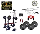 #6: Gold Fitness 20 In 1 Bench +100 Kg Pure Rubber Weight + 5 Ft (25mm) Plain + 3 Ft (20Mm) Curl Rod + Gym Accessories