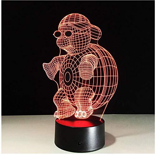 Schildkröte mit Sonnenbrille 3D LED Nachtlicht Lampe 7 Farben, die Noten-Nachtlicht für Kind-Steigungs-Neuheits-Beleuchtung ändern