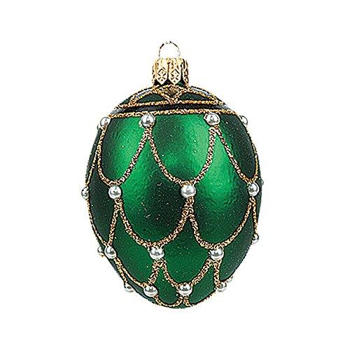 Pinnacle Mini Green Pearl Egg Faberge Inspired Polish Glass Ornament Easter Decoration -