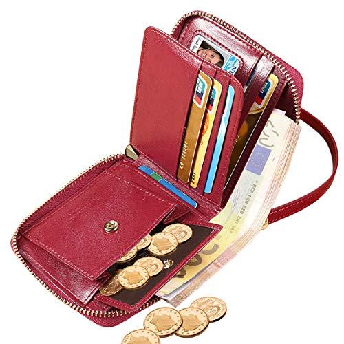 er Klein RFID Schutz ENOENO Kleine Damengeldbeutel mit 8 Kartenfächer und Münzfach Kleines Portemonaie Frauen Brieftasche mit Reißverschluss Portmonee Damen (Rot) ()