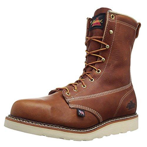 Thorogood Mens 8'' Plain Toe Wedge 814-4364 Tobacco Leather Boots 42 EU Plain Toe Slip