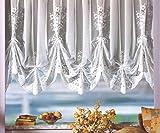 Hochraff Store Bogenstore gerafft Weiß Kräuselband/Universalschienenband HxB 145x4 Bögen für Fensterbreite 190-240 cm Jacquard Blumen Typ127 H