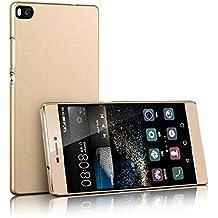 Prevoa ® 丨 Oriignal Hard PC Funda Cover Case para Huawei Ascend P8 5.2 pulgada Android Smartphone + Protector de Pantalla - Oro