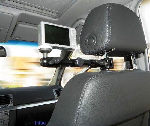 Infuu Holders KFZ Kamera Camcorder Kopfstützenhalterung 360° flexibel Halter Befestigung Fotostativ stabil Metall Aluminium 040 Gear 360 LG (Camcorder Auto)
