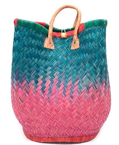 FISH IN THE SEA Quattro Designer Korbtasche Strandtasche S ★M★L Ibiza Handtasche Damen Lederhenkel Pink Türkis Türkis Hummer