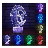 Erwa Novel 3D Nachtlicht Fisch Illusion Lampe 3D LED Tisch Schreibtischlampe Kinder Nachttisch Lampe 7 Farben Dekorative Beleuchtung Geschenk Für Mädchen, Junge,Touch