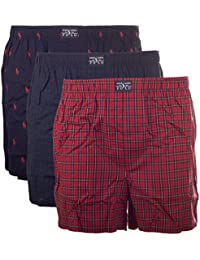 POLO RALPH LAUREN - Lot de 3 shorts pour hommes, Short de boxe Web - Noir / Rouge