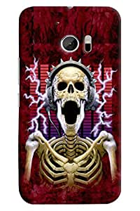 Omnam Skelton Listening Music And Laughing Printed Designer Back Cover Case For HTC 10