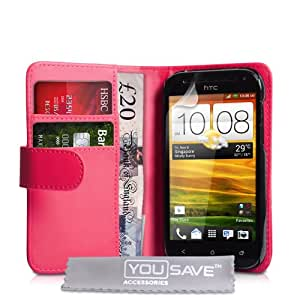 HTC One SV Case HTC One SV PU Leather Wallet Cover (Hot Pink)