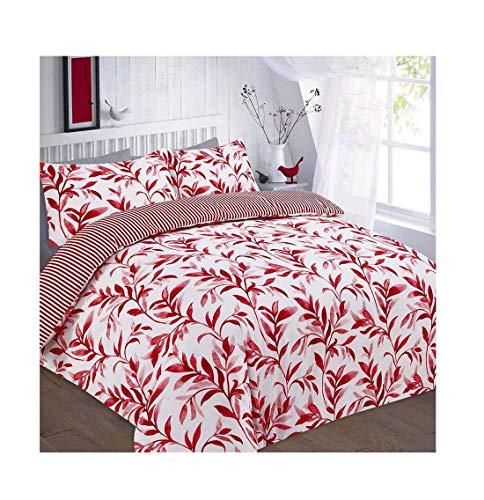 Islander Fashions Bettbezug-Set mit Ellie-Blatt-Druck und Kissenbezug-Bettbezug Quilt Bed Red Single