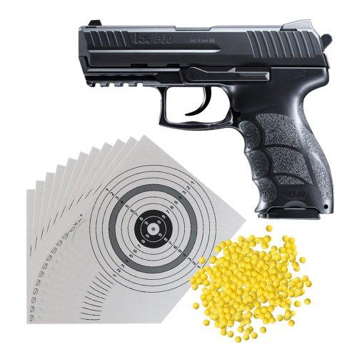 Set (P14): H&K P30 Softair Pistole 0,5 Joule (2.5782) mit Metallschlitten + 2.000 Schuss ShoXx.® BB 6 mm / 0,12g + 25 ShoXx.® shoot-club Zielscheiben 14x14 cm mit zusätzlichen grauen Ring und 250 g/m²