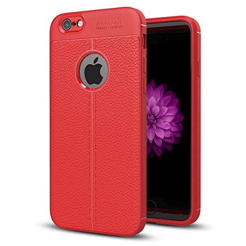 "MOONCASE iPhone 6 Plus/iPhone 6s Plus Coque, [Litchi Pattern] Housse Resilient TPU Etui Anti-Rayures Antichoc Protection Case Rugged Armure Defender pour iPhone 6 Plus/iPhone 6s Plus 5.5"" Rouge Rouge"
