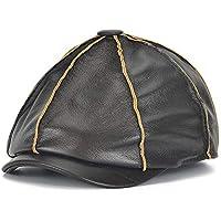 GHC Gorras y Sombreros Gorra de béisbol Otoño e Invierno Cálido Casual Moda al Aire Libre Sombrero de Cuero para Hombre Capa Superior Piel de Vaca Sandía Gorra Octogonal