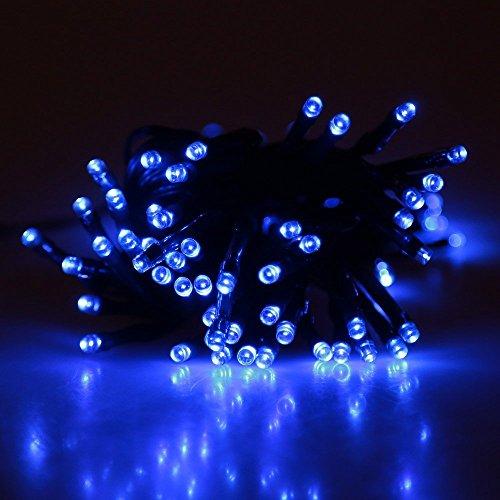 Lixada 17m 100 LED Blau Solar Strahler Wasserdicht LED-Leuchten Licht lichterkette für Weihnachten Dekoration