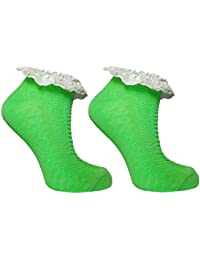 Ladies Girls Pastel & Neon Ankle Trainer Socks with Frill Textured Design Casual Cotton UK 4-8