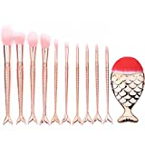 SMILEQ 10PCS Make Up Brushes Set Mermaid Beauty Cosmetic Makeup Brush Tool Foundation Eyeshadow Concealer Kits (A)