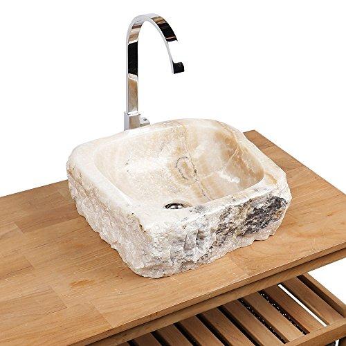 WOHNFREUDEN Onyx Stein-Waschbecken 42x40x15 cm rund Waschschale Bad Gäste WC