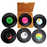 6 PCS Retro CD Record Vinyl Coasters for Coffee