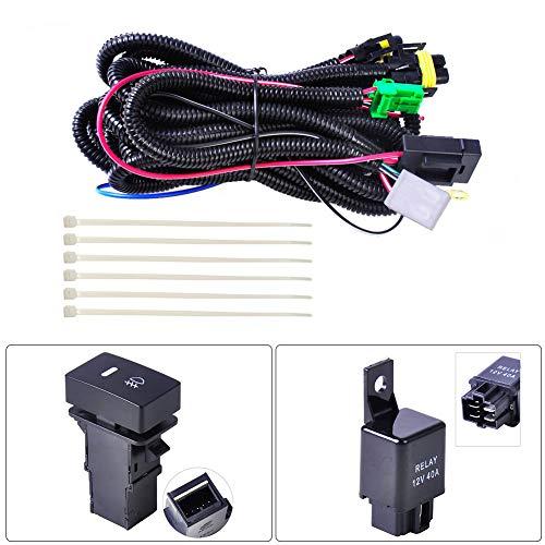 NZNNXN Kabelbaum LED-Lichtrelais Nebelscheinwerfer Kabelbaumbuchsen Kabel LED-Anzeigen Schalter 12V 40A Relais