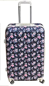 "Rose Navy Blue & Pink Large 28"" Luggage Case Suitcase Floral 4 Wheeled Tote Trolley Bag Hard Shell Abs Pc"