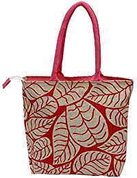 Utsav Kraft Pink Leaves - Pink Handle Designer Jute Bag, Women's Jute Shopping Bag, Grocery Bag, Gift Bag, Trendy...