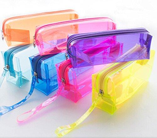 INFInxt Transparent Zipper Pouch Stationery Pen Case Portable Cosmetic Makeup Toiletry Bath...
