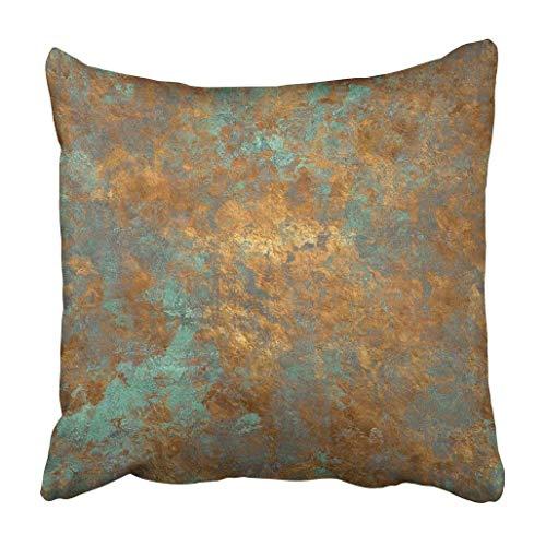 Bensontop Dekokissenbezug Polyester Dekorativ Orange Kupfer Vintage Bronze Rost Metall Patina Wand Alt Antik Dekokissen Kissenbezug Print Sofa Home 18x18 inch -