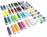 64 spolette di filo da cucito per macchina da cucire, 64 x 15 m, diversi colori