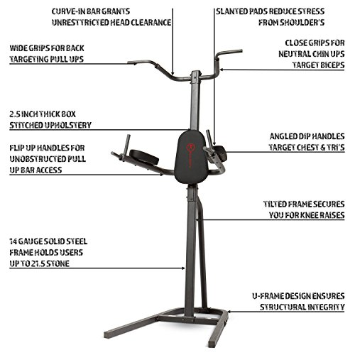 Marcy-Eclipse-CT6000-Power-Tower-Pull-Up-and-Dip-Station-21-Stone-Capacity-One-Size-Black