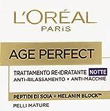 L'Oréal Paris Age Perfect Crema Viso Antirughe Idratante Notte, Pelli Mature, Anti-Macchie, 50 ml